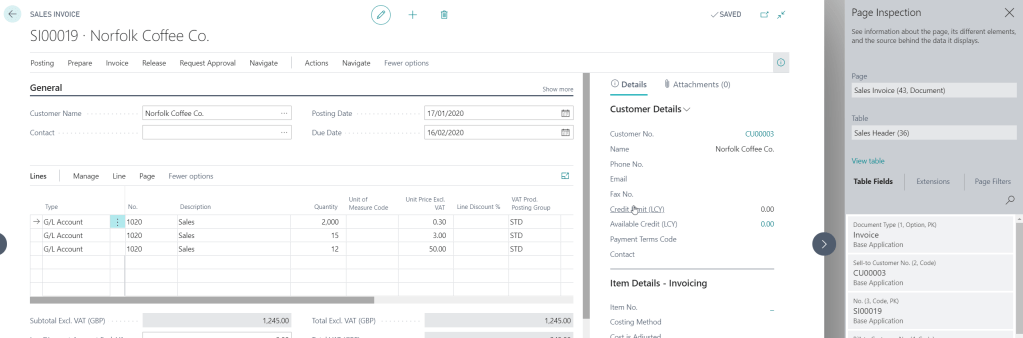 business central sales invoice view