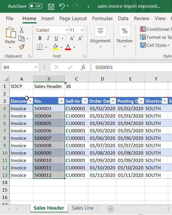 sales invoice import improved excel